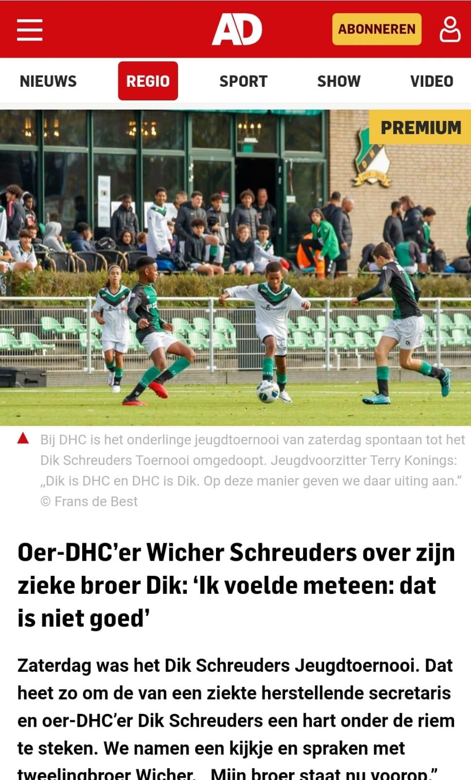het algemeen dagblad AD over het Dik Schreuders toernooi
