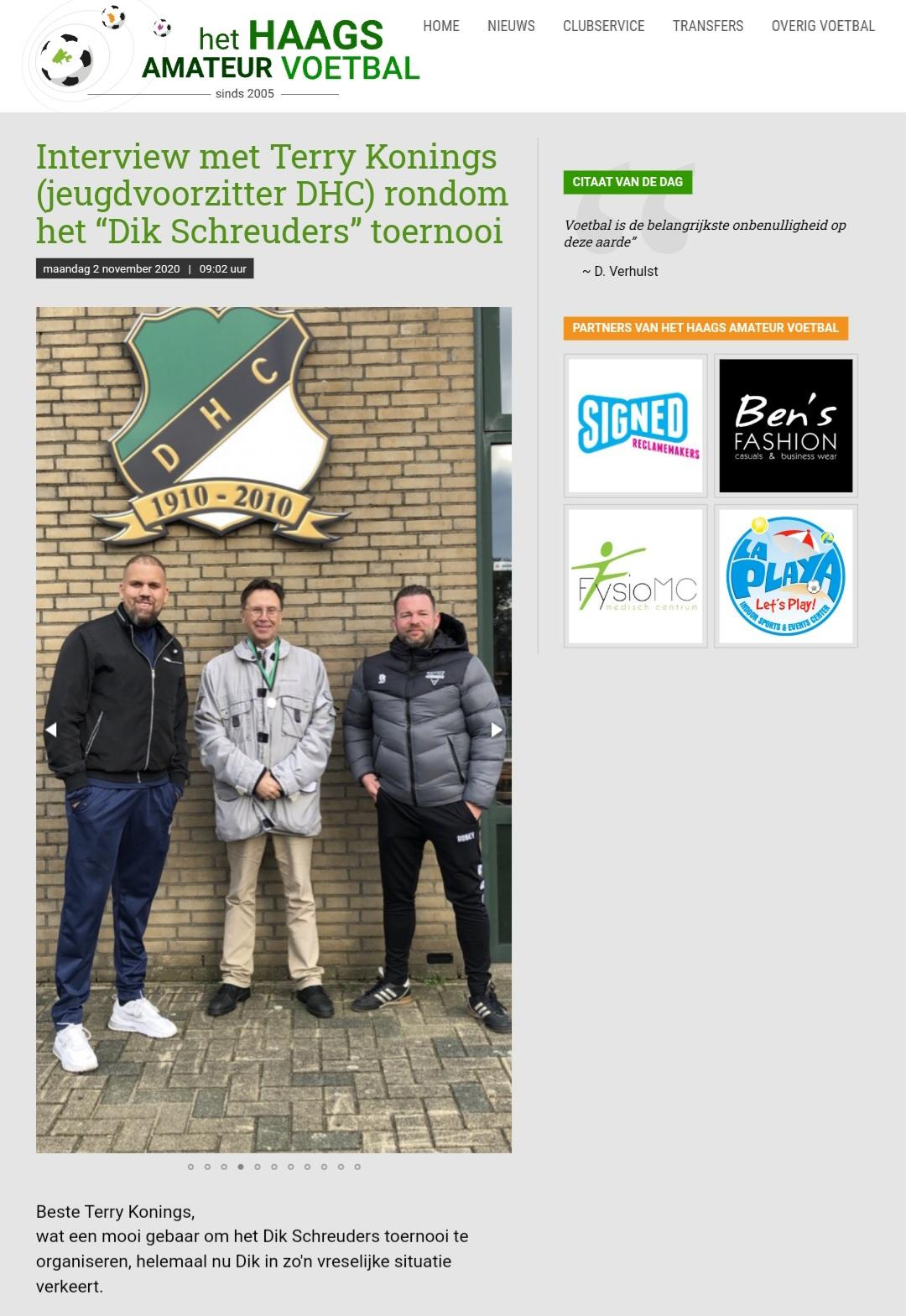het Haags amateur voetbal over het Dik Schreuders toernooi