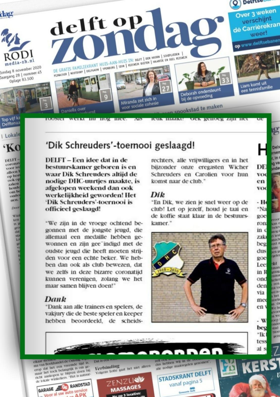 Dik Schreuders toernooi in de Zondagskrant van Rodi Media