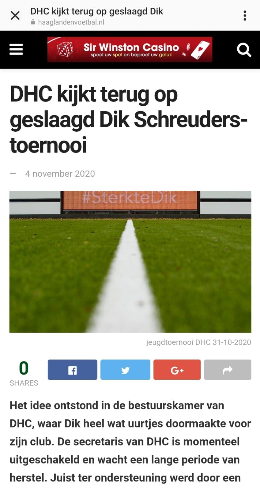 Haaglandenvoetbal.nl verteld over het Dik Schreuders toernooi 2020 bij DHC in Delft.